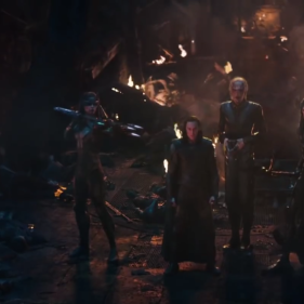 The Children of Thanos (from left): Proxima Midnight, Loki, Ebony Maw, Corvus Glaive and Cull Obsidian