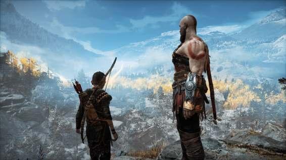 Atreus and Kratos overlooking their surroundings