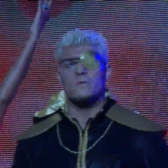 Cody Rhodes, looking like a cartoon super villain