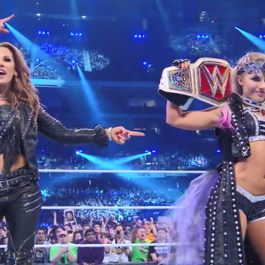 Raw Women's Champion, Alexa Bliss (right) with Mickie James (left)