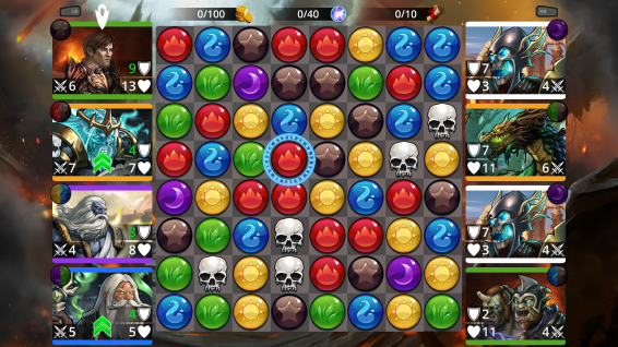 The main game screen: allies are along the left, while the enemies are to the right.