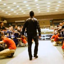 Yoshinobu Kanemaru saunters down to the ring