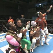 One of the best teams of the tournament tour: (from left) ACH. Ryusuke Taguchi, Dragon Lee and KUSHIDA