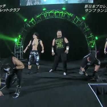 The Bullet Club (from left): Tama Tonga, Yujiro Takahashi, King Haku, Tanga Loa & Chase Owens