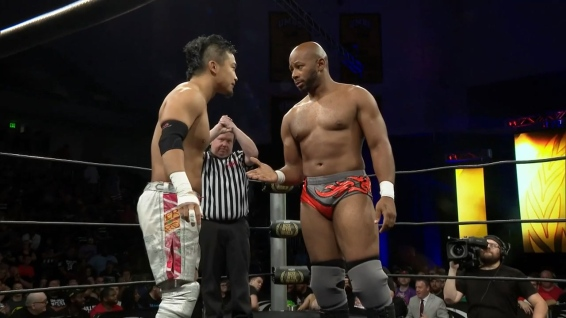 A show of respect from Jay Lethal (right) to KUSHIDA
