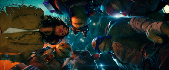 April (Megan Fox, aka the only human there) and the Turtles