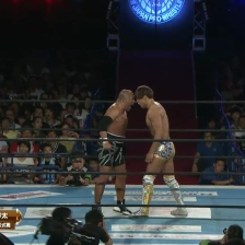 Ishii and Obushi go face to face, forehead to forehead just seconds before attempting to murder each other on live TV.