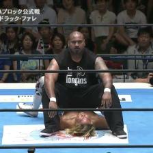 Bad Luck Fale sits on Hiroshi Tanahashi