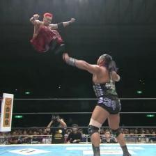 Okada flies off the top rope (spoiler: EVIL gets his face kicked in)