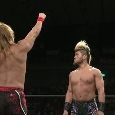 Tetsuya Naito offers a fistbump to SANADA