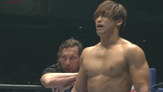 Kota Ibushi, with the IWGP Heavyweight Champion Kenny Omega in his corner