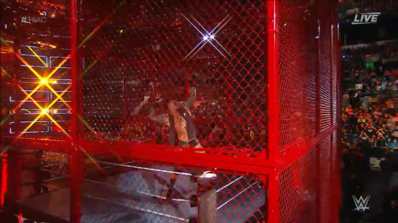 Randy Orton, very difficult to see behind the newly coloured blood red structure