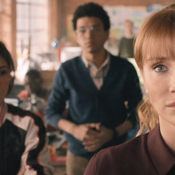 (From foreground) Claire Dearing (Bryce Dallas Howard), Zia Rodriguez (Danielle Pineda) and Franklin Webb (Justice Smith).