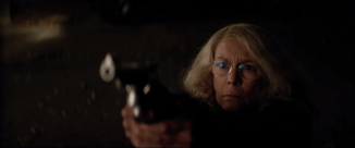 Jamie Lee Curtis as an older, and significantly more prepared Laurie Strode