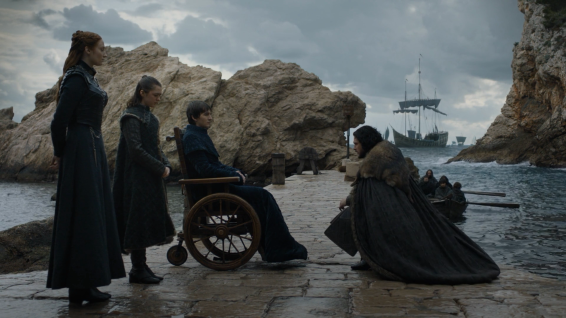 Sansa, Arya and King Bran say their farewells to Jon