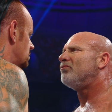 The Undertaker and Goldberg have a stare down... which was the best part of their match
