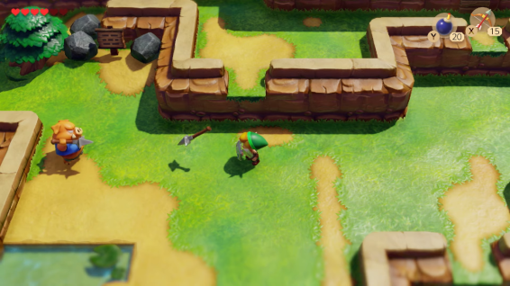 Link's shield is permanently set tot he right trigger, a fantastic inclusion from the original games