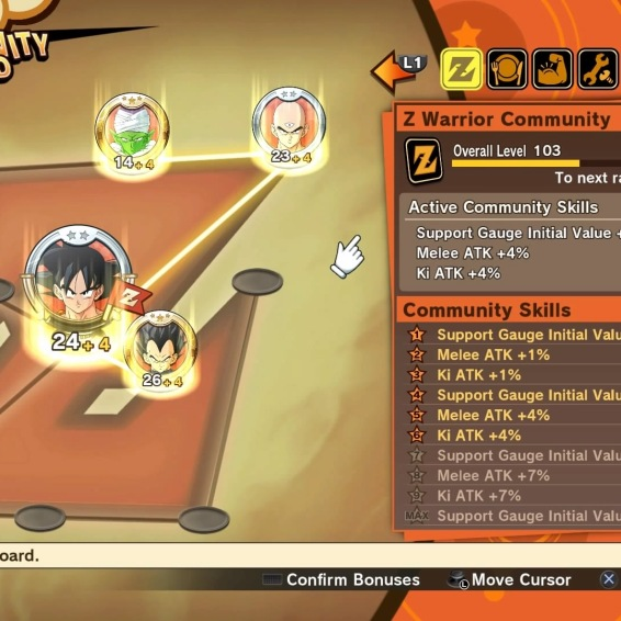The Community Board for Z Warriors, which grants in battle bonuses