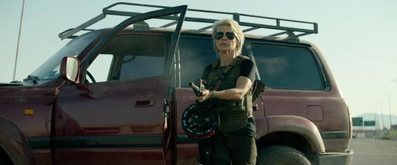 Sarah Connor (Linda Hamilton) ready to kick some ass.
