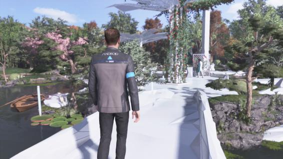 Connor, in a pristine, futuristic landscape.