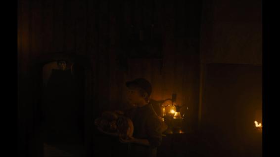 Holda (Alice Krige) and Hansel (Sam Leakley)