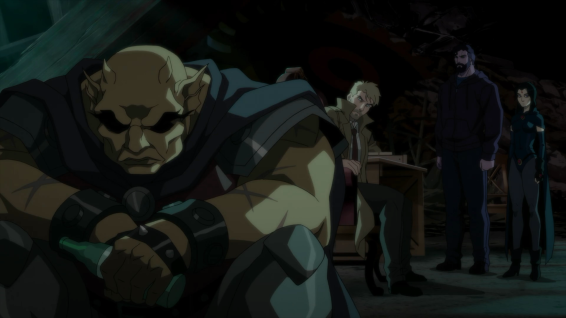 Etrigan sulks as Constantine meets with Raven and Superman
