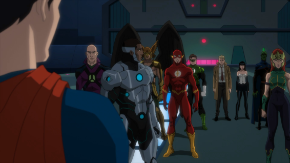 Superman addresses the extended Justice League