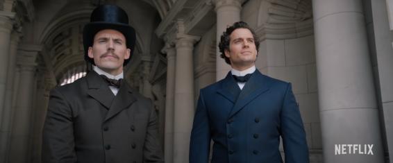 Mycroft and Sharlock Holmes (Sam Claflin and Henry Cavill)