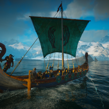 Eivor on his longship