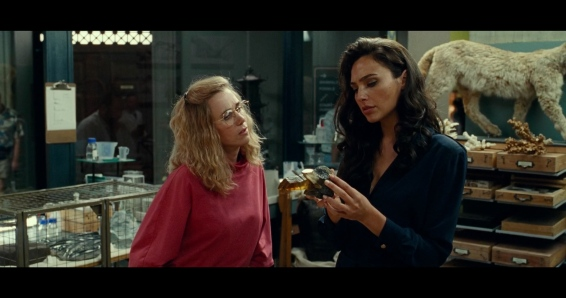 Barbara Minerva (Kristen Wiig) and Diana Prince (Gal Gadot) inspect a mysterious stone