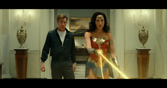 Steve Trevor (Chris Pine) and Wonder Woman (Gal Gadot)