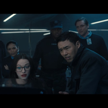 Dr Darcy Lewis (Kat Dennings) and Jimmy Woo (Randall Park) literally watch the happenings inside Westview