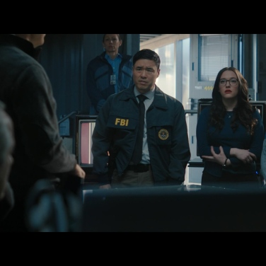 Jimmy Woo, Darcy Lewis and Monica Rambeau attend a briefing by Director Hayward.