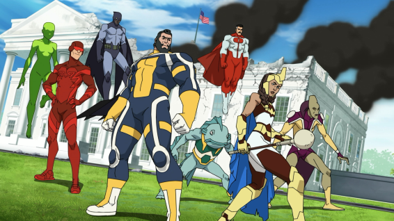 The Guardians of the Globe, with Omni-Man (top right, in red and white, J.K. Simmons)