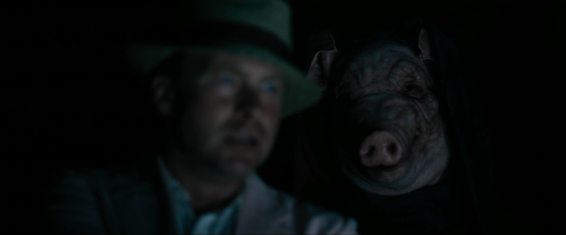 This terrifying mask, and not a single 'pig' joke in the whole movie